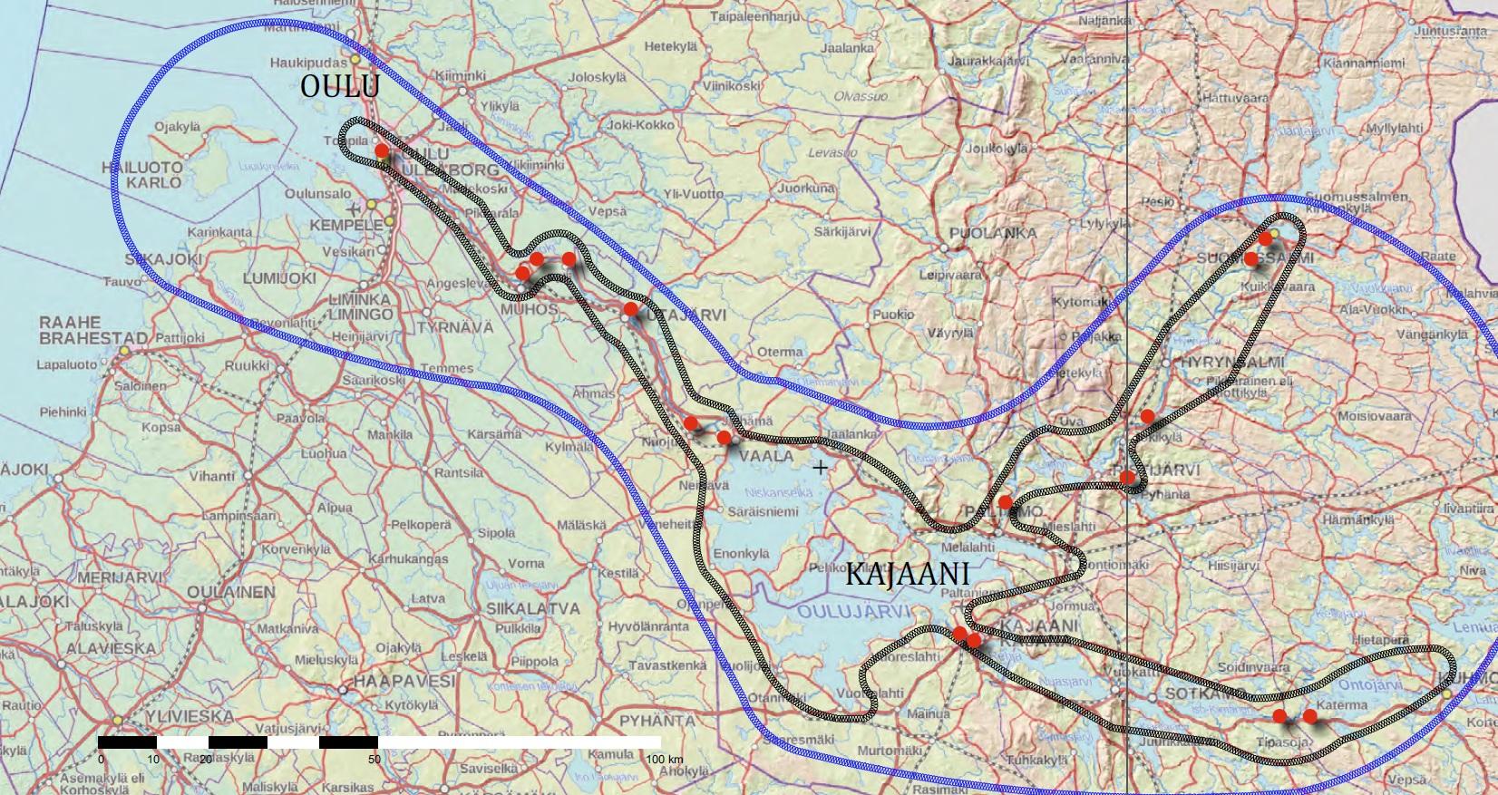 VEKU VAKU -hankealueen kartassa näkyvät hanke alueen 16 voimalaitosta, joista peräti 9 on Kainuussa.
